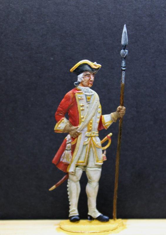 Leutnant in Paradeuniform vom sächsischen Intanterieregiment von Marche zur Zeit August des Starken